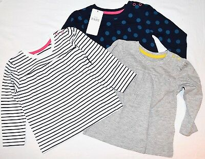 New + Tags Baby Girl 9 -12 Mths Pack 3 Long Sleeve T-Shirt/ Tops Marks & Spencer