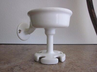 Antique Toothbrush & Cup Holder - Porcelain Over Cast Iron - White, Wall Mounted