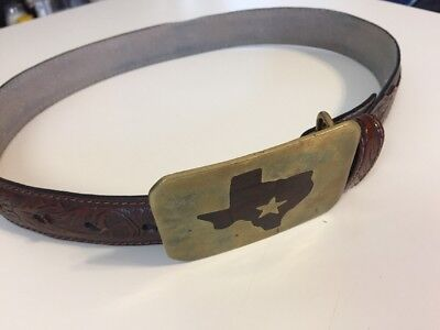 Boys Nocona Brown Leather 24 in Western Belt & Brass Texas Buckle