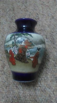 Lovely miniature 19c satsuma vase , lady's  by river and bird on branch.