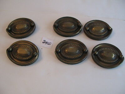 6 Brass Oval Drawer Pulls 3 x 2 3/8 inches