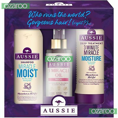 Aussie Miracle Moist Shampoo, 3MM Miracle Reconstructor & 3 Miracle Oil Gift Set
