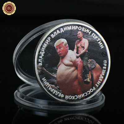 WR Putin Riding Trump Russia President Silver Challenge Coin Novelty Collection