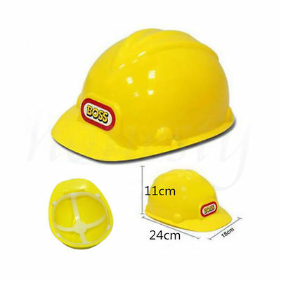 Kids The Boss Yellow Builders Helmet Childrens Construction Hard Hat Dress up