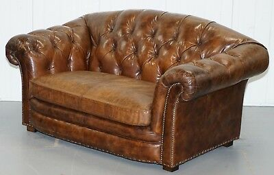 Stunning Aged Brown Heritage Leather Halo Two Seater Chesterfield Sofa Nice Find