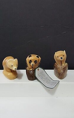 Lot of 3 Bears~Tagua Carving, hand Carved From the Tagua Nut vegetable ivory 1