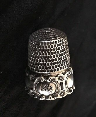 Antique Sterling SIMONS BROTHERS THIMBLE Sz 10 Flowers Swirl Relief Cartouches
