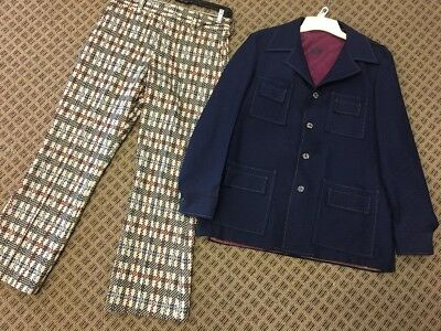 Men's Disco Suit Golf Costume Leisure Suit Vintage 1970s Navy & Plaid Sz 40
