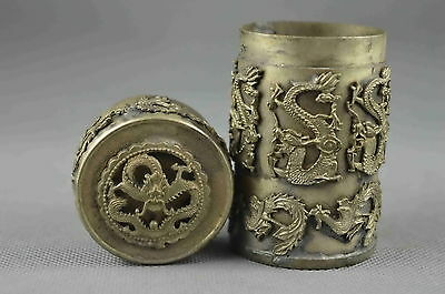 Collectible Handwork Old Miao Silver Carve Dragon Phoenix Exorcism Toothpick Box