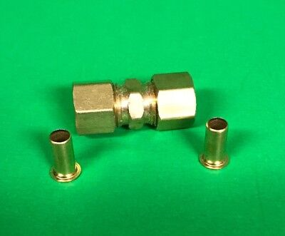 "New Couplings Co. 3/8""  Brass Compression Union Cat. 462E with Inserts & Sleeves"