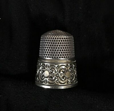 Antique Sterling SIMONS BROTHERS THIMBLE Initial E Heavy Design Swirls Circles