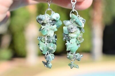 CHARGED Emerald Crystal Chip DESIGNER Earrings REIKI Healing Energy!