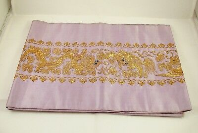 Chinese Silk Embroidered Panel Dragons Chasing Flaming Pearl