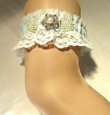 white and blue lace Bridal Wedding garter. wedding garter.brides,