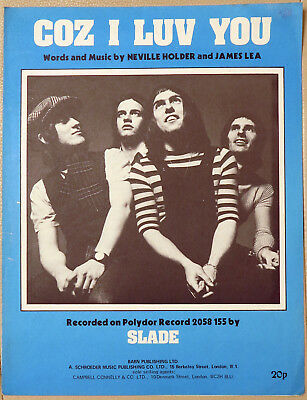 Slade Coz I Luv You 1971 sheet music illustrated
