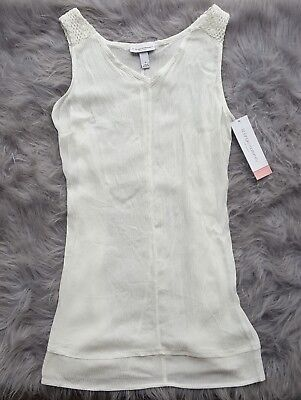 Liz Lange Marenity White Tank Top Rayon Crochet Tie Back NWT Sz Small or Medium