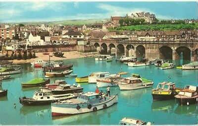 """Vintage collectible 3.5"""" x 5.5"""" POSTCARD The Inner Harbour, Folkestone, Kent, UK"""