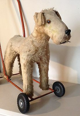 Vintage Lines Brothers Push Along Dog 1950s Fox Terrier.