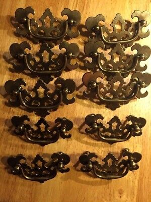 Set Of 10 Vintage Brass Metal Drawer Pulls Handles Chippendale Bat Wing Style