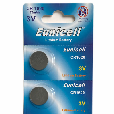 2 X Eunicell Cr1620 Dl1620 3 Volt Lithium Button/Coin Batteries For Car Key Fob
