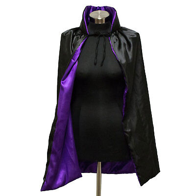 Black & Purple Hooded Witch Cape Count Dracula Wizard Costume Cloak Coat