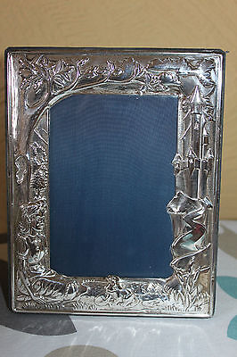 Solid  Silver Carr's Child Baby Christening Fairy Tale photo Frame Hallmarked