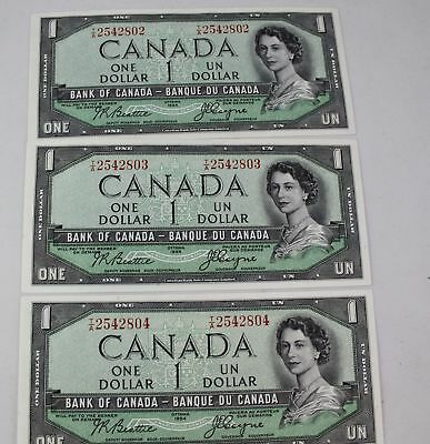 CANADA 1954 DEVILS FACE $1.00 -CHOICE UNCIRCULATED - 3 CONSECUTIVE Beattie Coyne