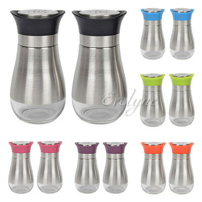 2-Piece Set Salt & Pepper Seasoning Glass Shaker with Stainless Steel Cover