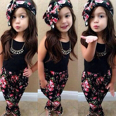 3pcs Kids Baby Girls Floral T-shirt Tops + Long Pants + Hairband Outfits Clothes