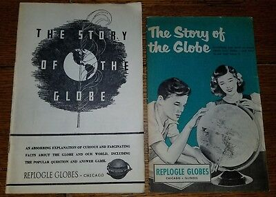 Vintage Hard To Find 1954 & Earlier Replogle Globes Owners Manuals / Game Books