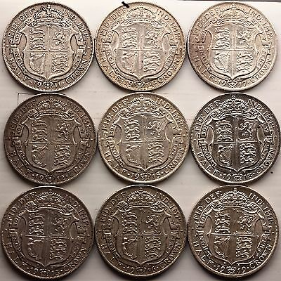 1911, 1912, 1913, 1914, 1915, 1916, 1917, 1918 1919 George V ½ Crown [9] total