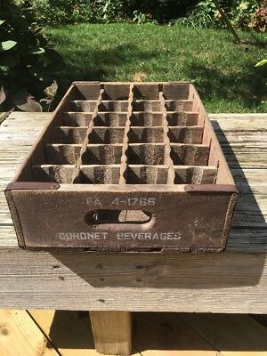 Vintage Coronet Wooden Soda Pop Crate 24 Bottle wood dividers with Logo Handles