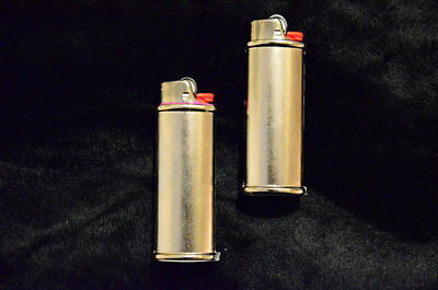 Wholesale 2 pack (Two) Blank Bic Lighter Case Cover Holder Metal Silver Color