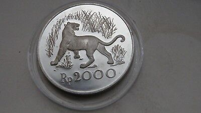 1974 Indonesia 2500 Rupiah Java Tiger Silver Proof coin