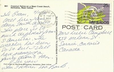 """Vintage collectible 3.5"""" x 5.5"""" POSTCARD West Coast Beach BARBADOS 1978 posted"""
