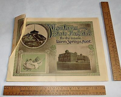 MONTANA STATE HOSPITAL For the Insane - Warm Springs, Mont - illustrated BOOKLET
