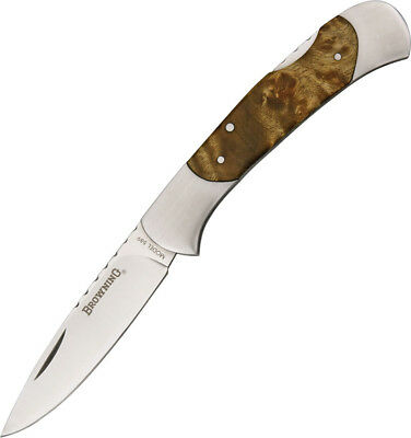 "Browning Lockback Knife BR589 4"" closed. 3"" stainless drop point blade. Burl woo"