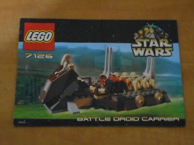 LEGO Star Wars 7126 Battle Droid Carrier Instructions Manual Only 2001 NM
