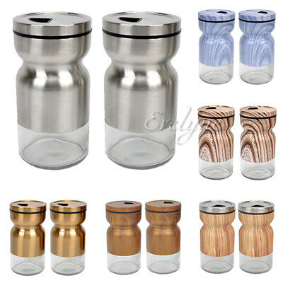 2-Pc Stainless Steel Covered Glass Salt & Pepper Shaker Seasoning Rotating Cover