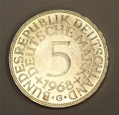 1968 G Germany 5 Deutsche Mark Choice Uncirculated original patina MS63+