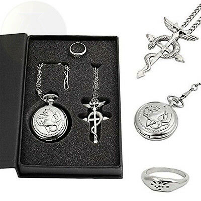 US Full Metal Alchemist Pocket Watch Necklace Ring Edward Elric Anime Cosplay
