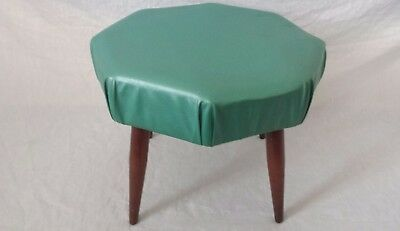 Old Vintage Collectible Green Ottoman Foot Stool Foot Rest Furniture Living Room