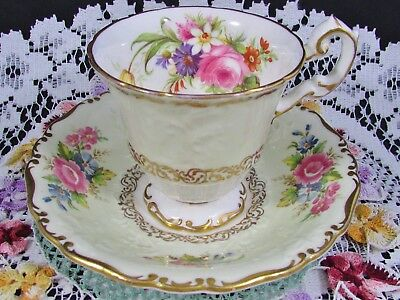 Foley Ornate Rose Floral Pale Green Embossed Tea Cup And Saucer
