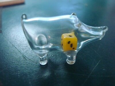 Hand Blown Glass Miniature Pig with a Dice inside