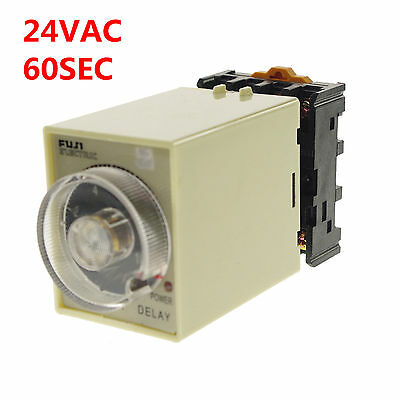 1A 24VAC Power off delay Time Timer Relay 0-60 seconds With Socket Base PF083A