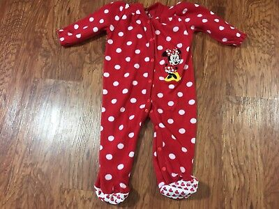 Disney Parks Minnie Mouse Baby Girl's Flannel One-Piece Sleeper Size 18 Months