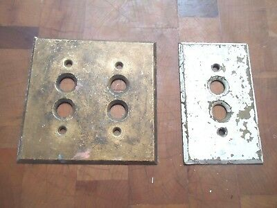2 Antique Vintage Brass Push Button Light Switch Face Plate Cover