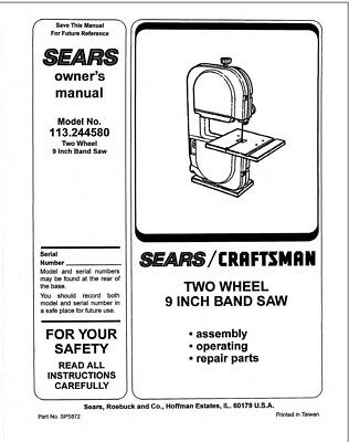 Craftsman 113.244580 Band Saw Owners Instruction Manual