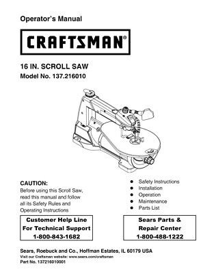 Craftsman 137.216010 Scroll Saw Owners Instruction Manual