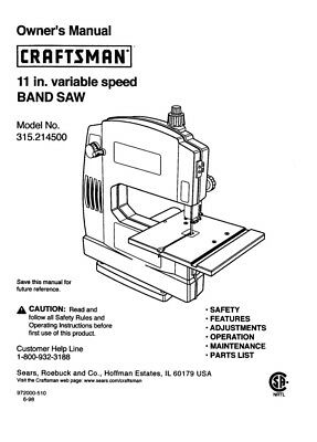 Craftsman 315.214500 Band Saw Owners Instruction Manual